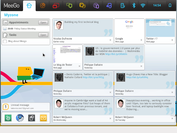 Meego for Notebook 1.0 presenting Google Mail Notification